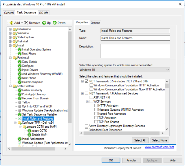 MDT 2013 – Installer des fonctionnalités Windows par MDT